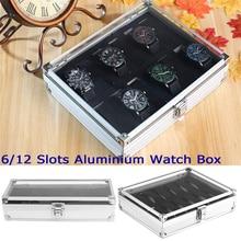 купить 6/12 Grid Watch Display Storage Case Display Storage Case Aluminium Watch Organizer Box Packaging For Men Valentine Gift D30 по цене 927.47 рублей
