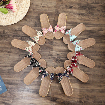2020 New Spring 6 Colors Women Flax Slippers Summer Bohemia Floral Bow Beach Flip Flops Comfortable Non-slip Home Slippers цена 2017