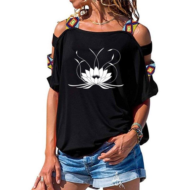 Nueva camiseta 3d Mandala Lotus para mujer, Camiseta de algodón Casual divertida, camiseta de manga corta para chica, camiseta Sexy con hombros descubiertos Camiseta con letras de amigos, camiseta de moda de verano para mujer con dibujos estéticos de amigos, pantalón corto informal de manga corta, graciosas camisetas coreanas para mujer
