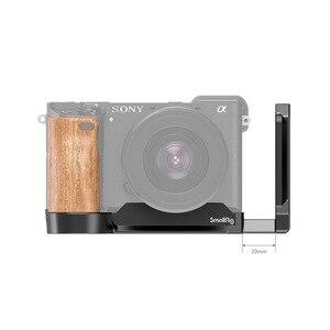 Image 4 - SmallRig A6400 L braketi plaka ile ahşap saplı Sony A6400/A6300/A6100 arca swiss standart L plaka montaj plakası 2331