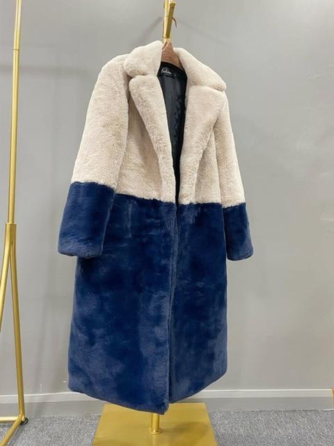2020 hiver femmes haute qualité Faux lapin fourrure manteau de luxe longue fourrure manteau revers pardessus épais chaud grande taille femelle en peluche manteaux 3