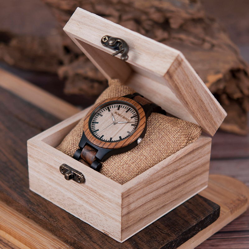 BOBO BIRD Couple Watch Wood Relogio Masculino Custom Gift To Him Her Japan Movement Wristwatch In Wooden Box Zebra Wood Strap