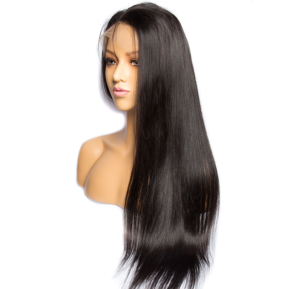 ALIBELE 360 Lace Frontal Wig Pre Plucked With Baby Hair 150 Density Brazilian Remy Straight Glueless Lace Front Human Hair Wig-in Human Hair Lace Wigs from Hair Extensions & Wigs