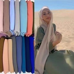 New chiffon Hijab Women Plain Bubble Chiffon Scarf Hijab Wrap Printe Solid Color Shawls Headband Muslim Scarves Scarf 61 Colors