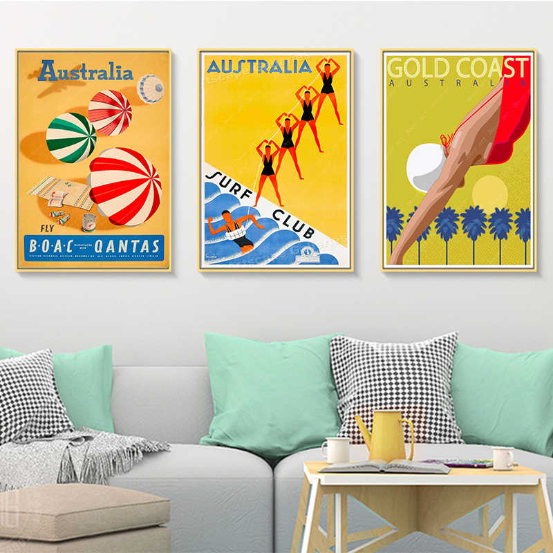 Australia Gold Coast Queensland Great Barrier Reef Poster Canvas Painting Kraft Poster Coated Wall Sticker Home Decor Gift Painting Calligraphy Aliexpress