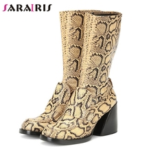 SARAIRIS New Brand Design mid-calf Boots Women Runway Show Genuine Leather Stretch Boots Ladies High Heels Shoes Woman цена 2017