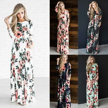 Elegant Florar Dress Women Long Dresses Autumn New 2019 Boho Dress Vintage Bohemian Maxi Vestidos Plus Size Robe Female Fall 3XL(China)
