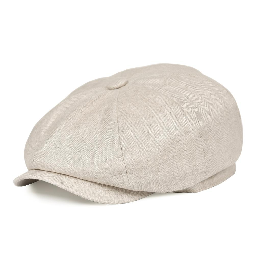 BOTVELA Summer Linen Newsboy Cap Men Women Herringbone Bakerboy Caps Lightweight Breathable Flat Hat Apple Beret Hats 007