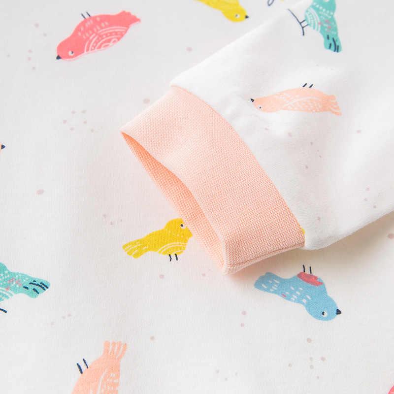 DB12186 ديف بيلا منامة مجموعة للأطفال الخريف للجنسين الطفل المنزل الملابس الكرتون طويلة الأكمام الطفل ملابس خاصة بدلة