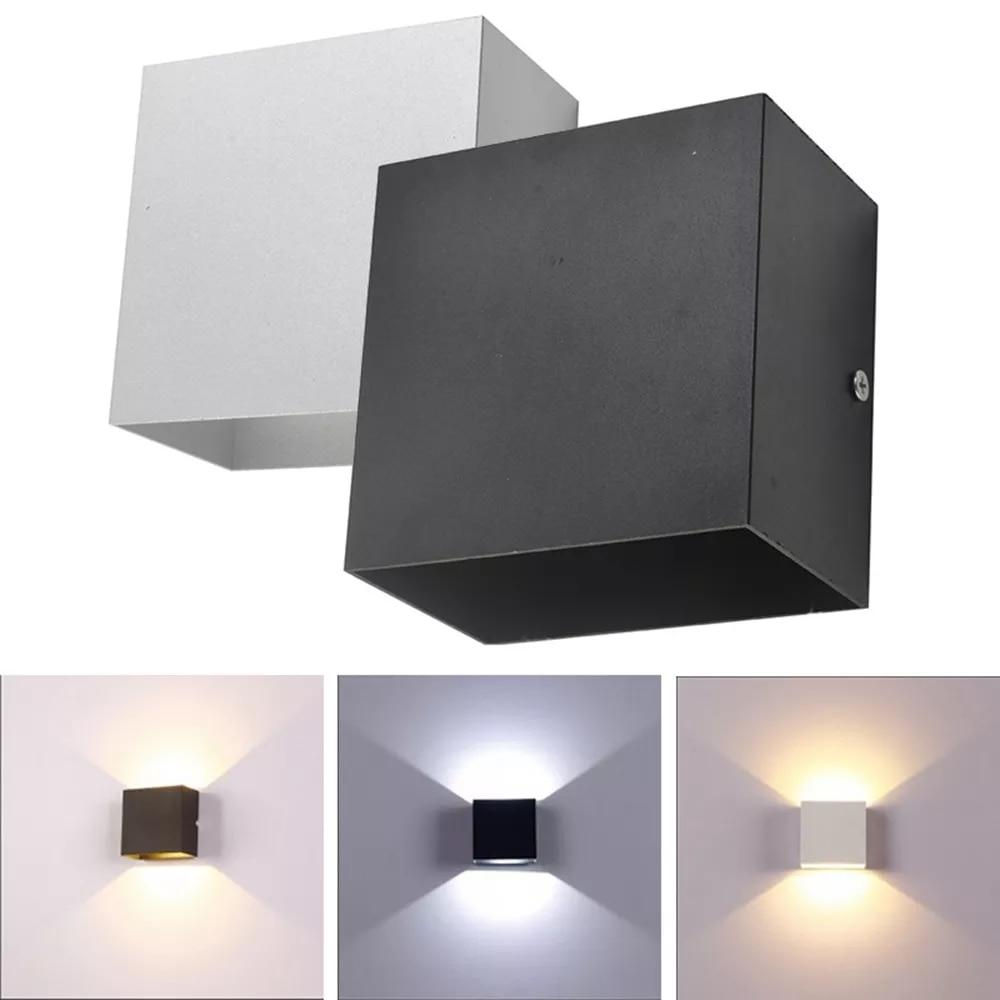 6W Lampada LED Aluminium AC85-265V Wall Light Rail Project Square LED Wall Lamp Bedside Room Bedroom Wall Decor Arts