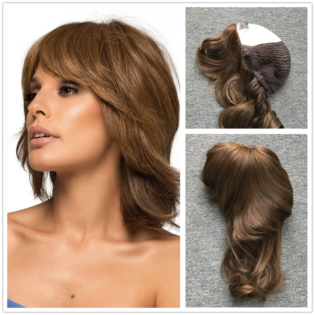 Hstonir European Hair Wig Pelucas De Mujer Jewish Kosher Demi Perruque Pesach Silk Top Sheitel Layered Wig Remy Hair JW06