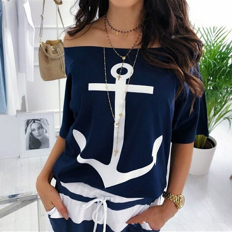Fanbety women sexy off shoulder Two Piece Sets dress Boat Anchor Print Shirts Striped dress Sets Lady casual Ankle-Length dress 2