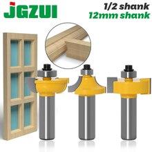 Juego de 3 unids/tablones de puerta de vidrio, herramientas de trabajo de madera, cortador de curboard, brocas de enrutador, vástago de 12mm, ballnose tipo T
