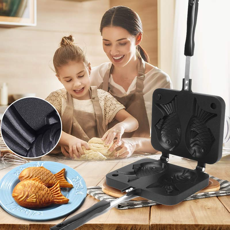2 Molds Taiyaki Fish Shaped Waffle Pan Plate Maker Non-stick Buscuit Cake Bake Bakeware Home Kitchen Appliances DIY Cooking Tool