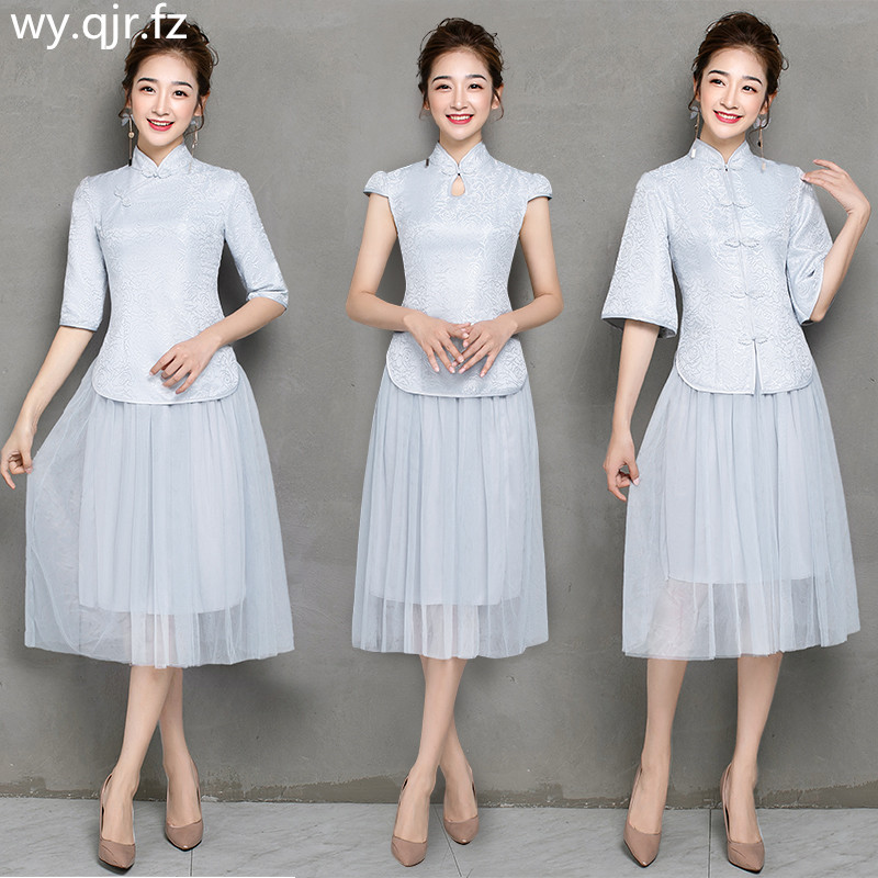 ZX-B3#Bridesmaid Dresses Short Improved Cheongsam Toast Suit Wedding Party Dress Pink Two-piece Dress Cheap Wholesale Clothing