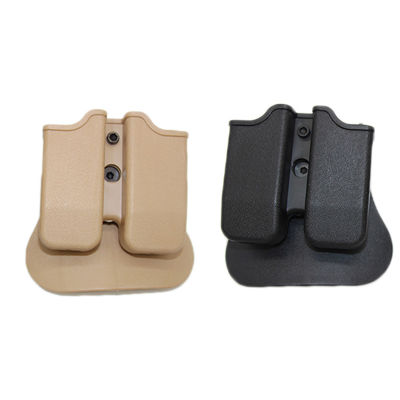 Tactical Hunting Double Magazine Pouch For IMI Glock 17 19 22 31 Airsoft Clip Pouch Module Combination Pistol Belt Loop Paddle