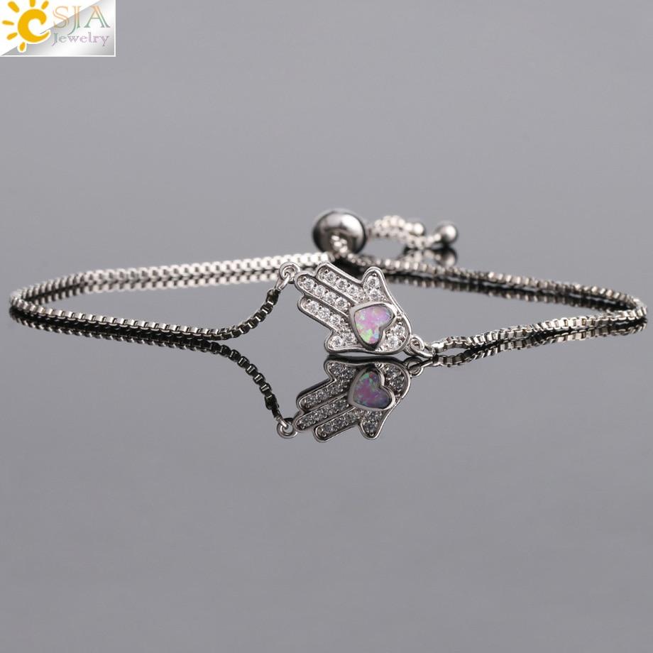 Image 2 - CSJA Religious Style Fatima Hand Charm Bracelet Heart Opal Pave  Zircon Chain Bracelets for Women Men Amulet Fashion Jewelry G105Chain