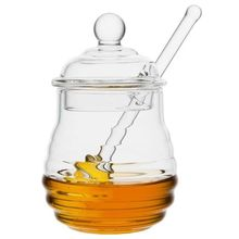 Honey Jar with Dipper and Lid Cover Glass for Store Syrup Clear Home Kitchen Food Storage Container Beehive Crystal Honey Pot