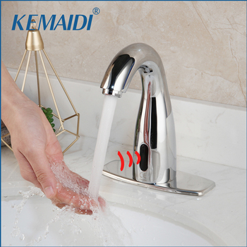 KEMAIDI Chrome Polished Automatic Sensor Faucet Bathroom Basin Sink Faucet Hot & Cold Water Mixer Tap Touch Sense Faucet