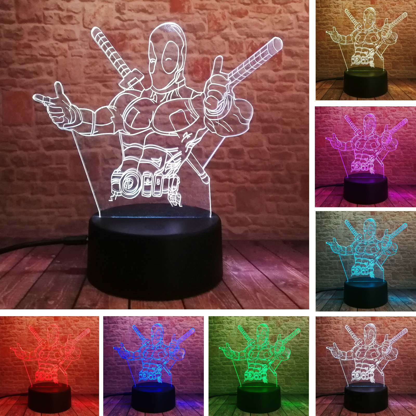 The Avengers Deadpool Legends 3D LED Table Lamp Marvel Super Hero 7 Color Change Night Light Child Boys Fans Friend Toys Gifts image