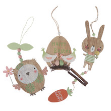 Creative Easter Decoration Wooden Rabbit Chick Owl Pendant Happy Easter Wall Hanging Ornament Wood Chips Tags Crafts 1pc(China)