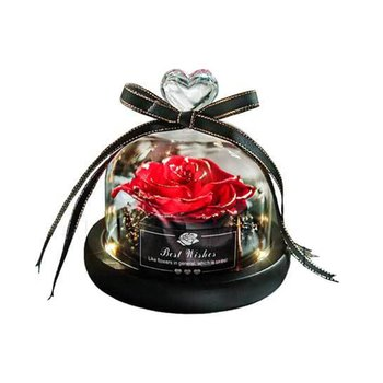Preserved Rose In Flask Led Glass Dome Valentines Day Gift Christmas Present Real Rose Beauty And The Beast Mother'S Day Gift недорого