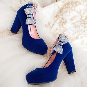 Image 2 - Rimocy女性のプラスサイズ 45 クリスタルボウタイパンプススーパーハイスクエアハイヒールアンクルストラップパーティー結婚式の靴女性フロック靴 2019