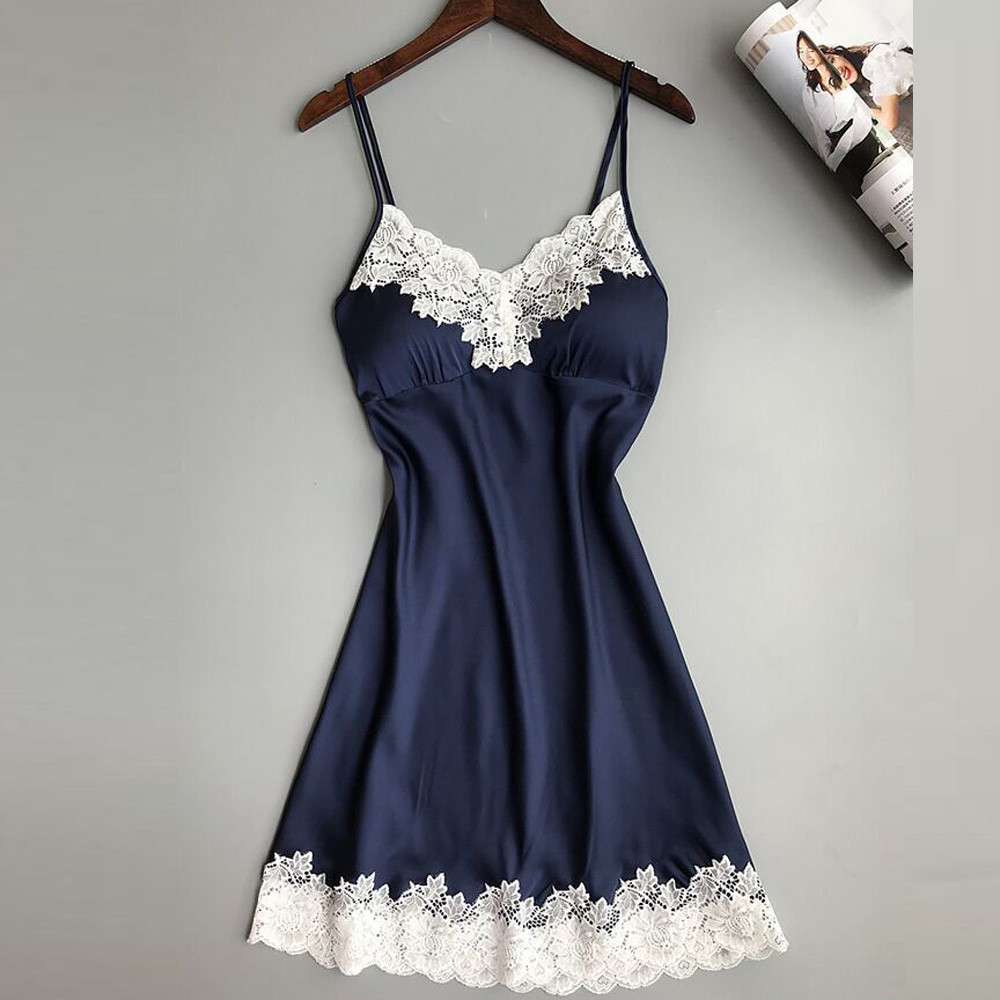 Ladies Sexy Silk Satin Night Dress Sleeveless V neck Nightgown Nightdress Lace Solid Color Sleepwear For