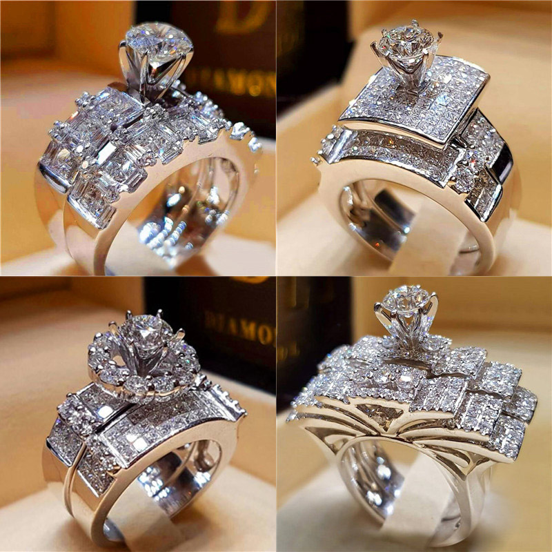Ciyoon Engagement Wedding Girls Women Couple Cross Ring Metal Bridal Bohemian Good
