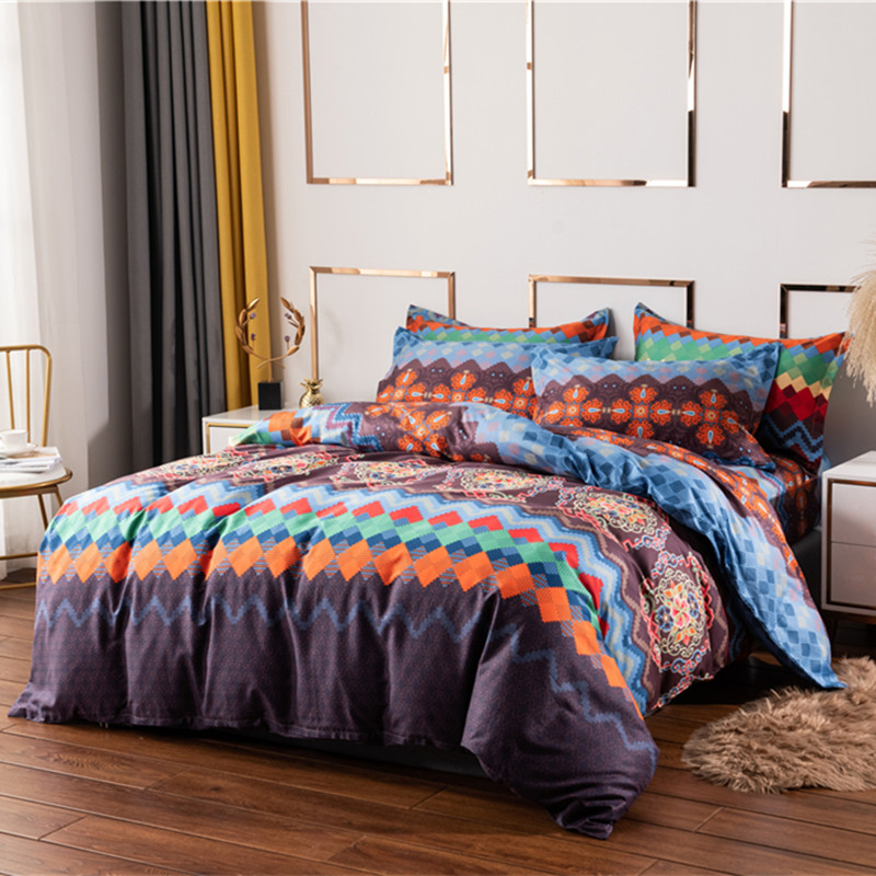 Bohemian 100% Cotton 3d Comforter Bedding Sets Luxury Boho Duvet Cover Set  Pillowcase Queen King Size bed comforter