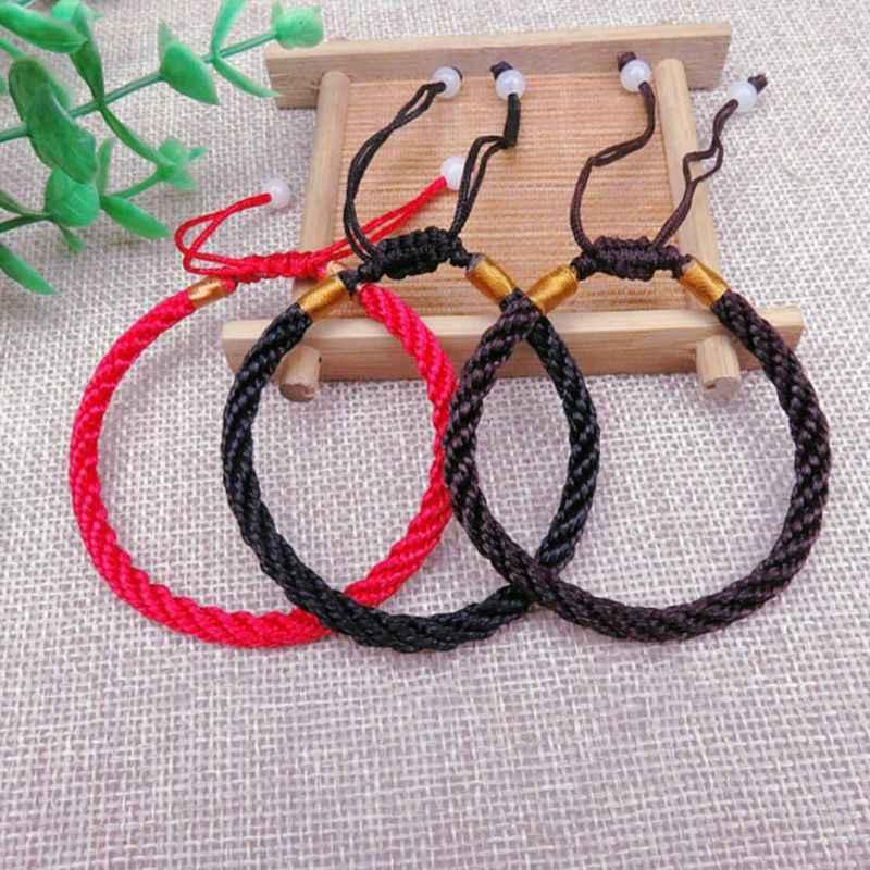 Pleciona bransoletka ręcznie robiona lina regulowana Lucky Bless prezenty ciąg bransoletki dla par biżuteria dekoracyjna mężczyźni kobiety W2952001
