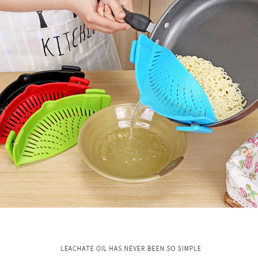 Aftappen Pasta Nieuwe Hot Koop Siliconen Colanders Keuken Clip Op Pot Zeef Afdruiprek Voor Vloeibare University Thuis Groente Tool