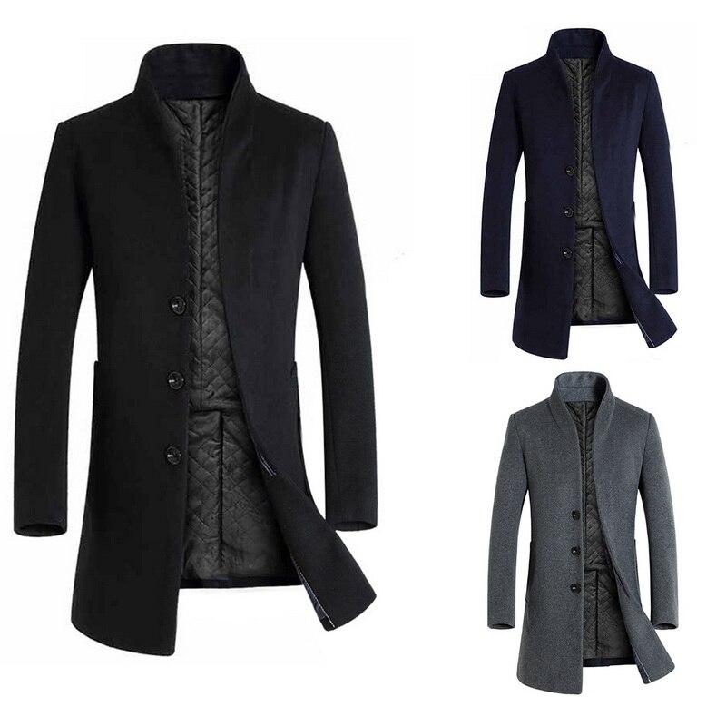Vogue Autumn Men Vintage Coat Fashion Solid Stand Collar Men Long Overcoat VoguePlus Size Outwear Men Slim Long Jacket 5XL