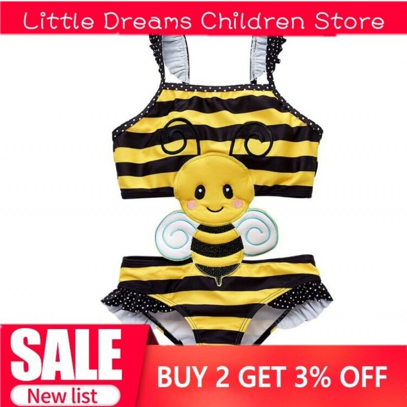 2019 New Drop Ship One-Piece SwimsuitGirl Child Bodysuit Swimwear Yellow Bee Bathing Suit Baby Bikini Ice Cream Cartoon Sunsuit