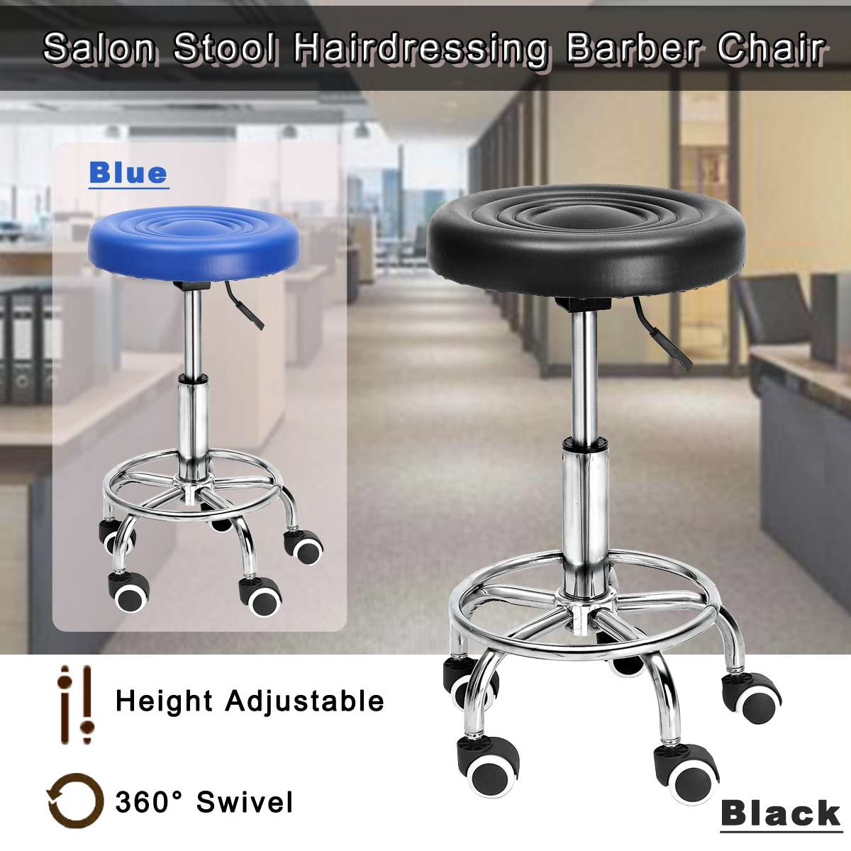 Adjustable Height Gas Lift Retro Bar Stools Modern Hollow Bar Barber Salon Chair Home High Stool Continental Rotating