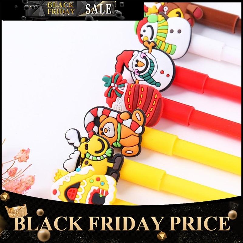 Christmas Black Neutral Pen Cartoon Snowman Bear Sock House Deer Gel Pen