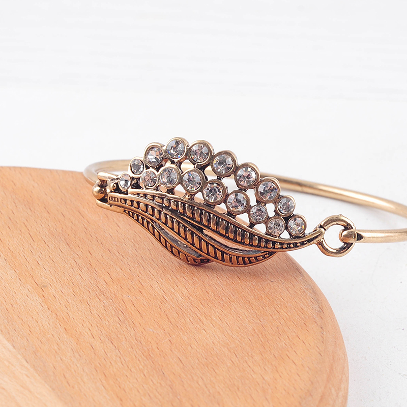 Ethnic Gold Color Crystal Wing Bangle For Women Wedding Gift Handmade Wholesale Jewelry