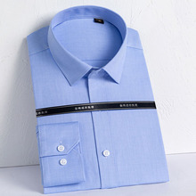 Men Dress Shirts Square-Collar Long-Sleeve Business Plaid Stripes Dp100%Cotton Well-Fit