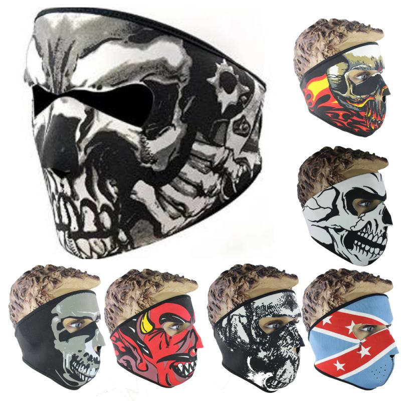 Motorcycle Winter Balaclava Ghost Tactical Mask Neoprene Mask CS Neck Warm Face Shield Veil Sports Warm Windproof Ski Bike Mask