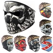 Motorcycle Balaclava Ghost Tactical Mask Neoprene Mask CS Neck Warm Face Shield Veil Sports Warm Windproof Ski Bike Mask