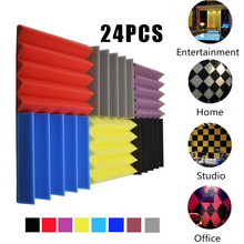 24/Pack Acoustic Panels Soundproof Foam for Home Theatre Music-Room 25x5cm Wedge Sound-Absorption-Tiles