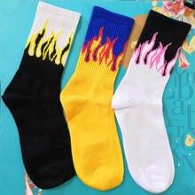 1 пара мужские Модные носки в стиле хип хоп хит цвет на огне