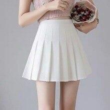 2021 Sexy Women Pleated Skirt Summer High Waist Chic A Line Ladies Pink Mini Skirt Korean Zipper Preppy Style Girls Dance Skirt