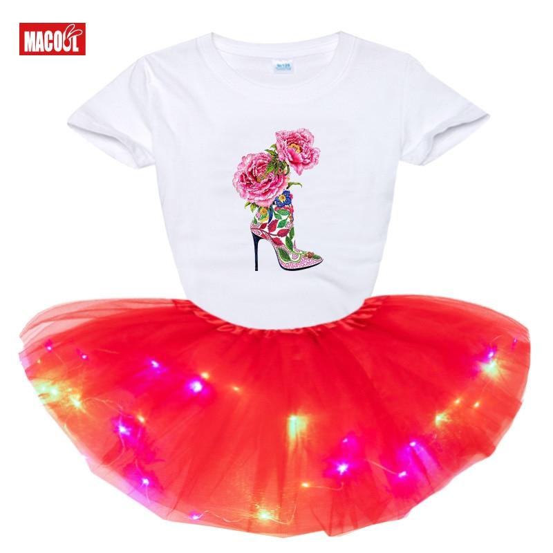 dress fashion Light LED Tutu Dress+t Shirt 2 pcs Set Kids Girls Party Dresses Summer girl t shirts Rainbow tutu dress t shirt