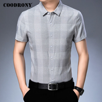 COODRONY Men Shirt Fashion Plaid Cotton Camisa Masculina Spring Summer Short Sleeve Business Casual Shirts Mens Clothing C6018S coodrony men shirt spring summer short sleeve casual shirts cotton fashion plaid camisa masculina with pocket mens dress c6008s