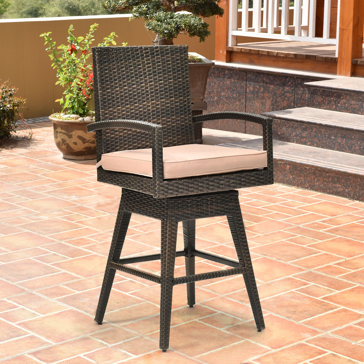 Costway Outdoor Wicker Swivel Bar Stool Chair Patio Backyard Furniture W/ Seat Cushion
