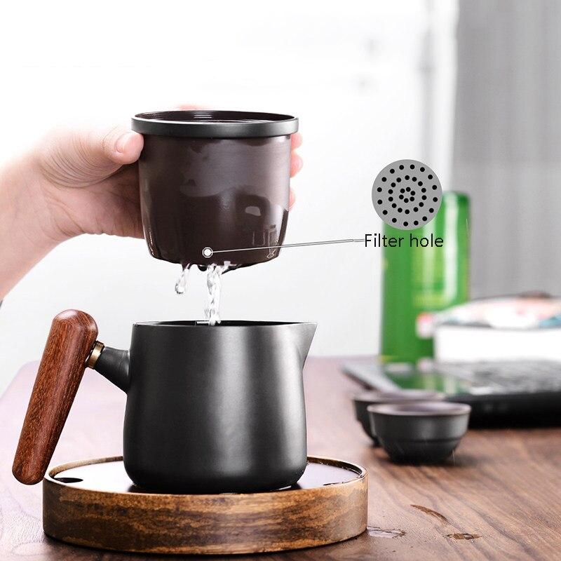 Image 2 - Yixing Purple sand tea set black/red Ceramic Japanese Tea Cup Set Portable Travel Teaware Kung Fu Teaset Cup 1 Pot 2 Cups GaiwanTeaware Sets   -