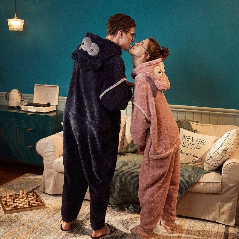Anime Christmas Onesie Coral Fleece Thick Kigurumi Pajamas Cartoon Cosplay Onesies For Adults Women Sleepwear Pajama  Couple