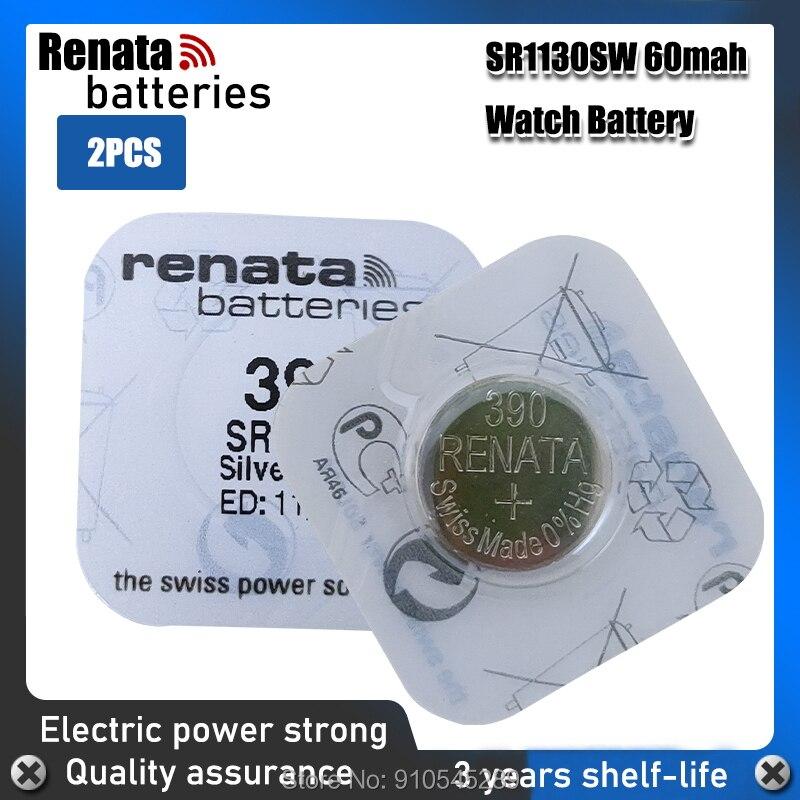 2 шт., батарейки для часов Renata 1,55 в 390 SR1130SW 389 LR54 AG10