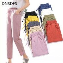 Autumn Pants Soft-Trousers Harem Linen Elastic-Waist Solid Cotton High-Quality Women Summer
